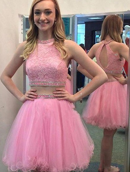 710828bf32a06 Baby Pink Homecoming Dress, Two-Piece Tulle Homecoming Dresses with Beadings