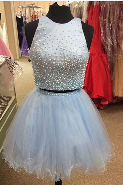 Baby Blue Homecoming Dress, Scoop Neck Tulle Pearl Detailing Two Piece Homecoming Dresses