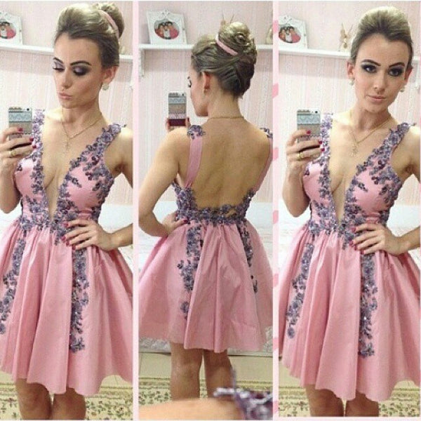 Homecoming Dresses, Short V-Neck Homecoming Dresses with Appliques