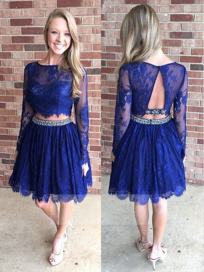 Royal Blue Homecoming Dress, Two Piece A-line Lace Long Sleeve Homecoming Dresses