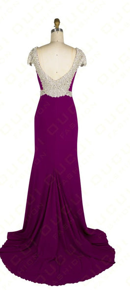Sheath Prom Dresses,Purple Prom Dress,Long Evening Dress