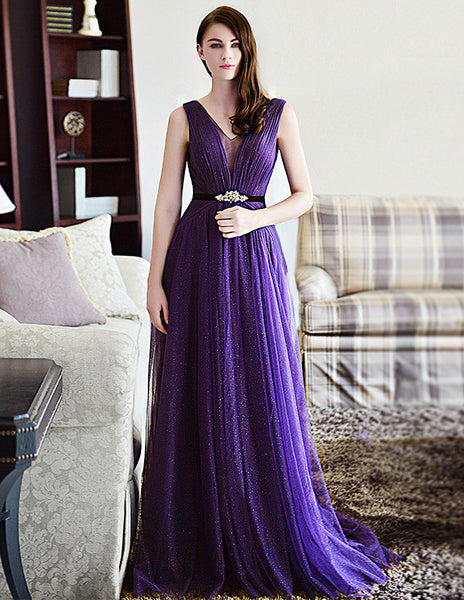 Sleeveless Prom Dresses,Purple Prom Dress,Long Evening Dress