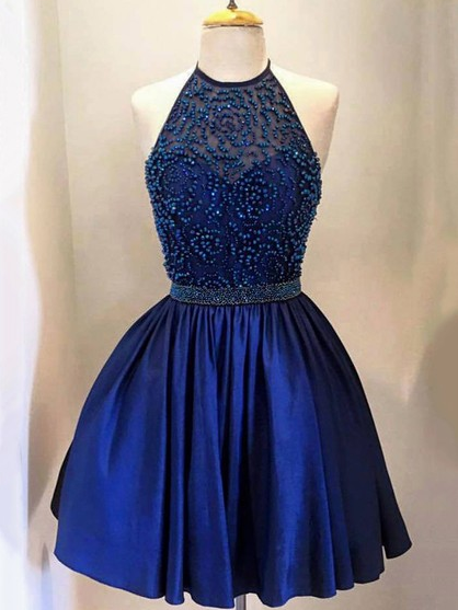 Royal Blue Homecoming Dress, A-line Halter Mini Beading Homecoming  Dresses