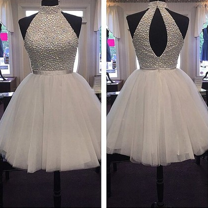 White Homecoming Dress, A-line High Neck Tulle Homecoming  Dresses with Crystals