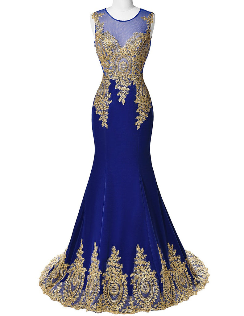 Mermaid Applique Prom Dresses,Royal Blue Prom Dresses,Long Evening Dress
