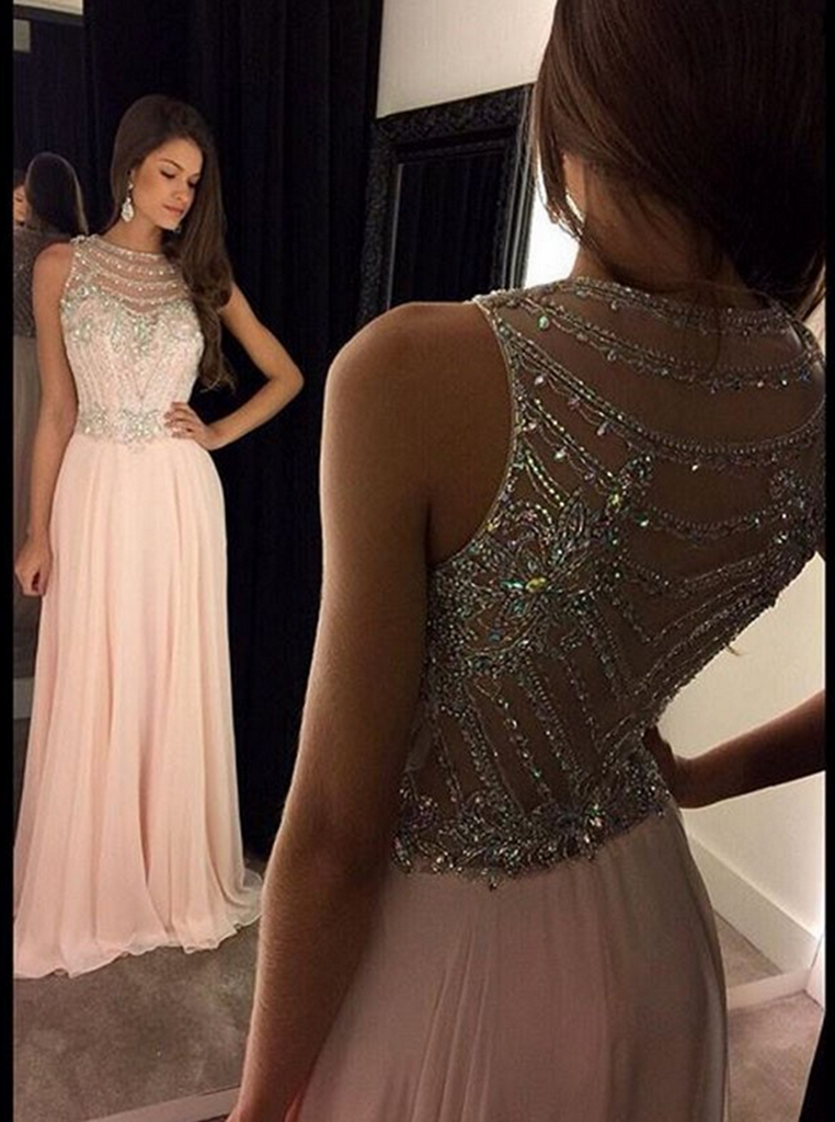 Pink Prom Dresses,Scoop Prom Dresses,Long Evening Dress