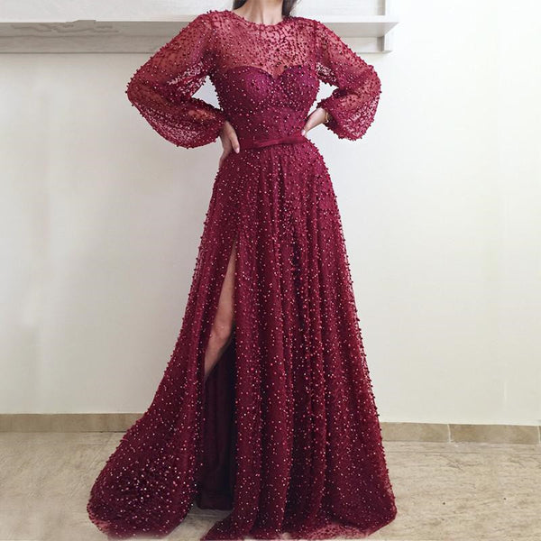 Burgundy Sequins High Slit Prom Dresses With Long Sleeves Glitter Tulle Evening Dresses