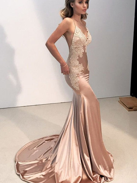 Blush Spaghetti Straps Satin Sheath Prom Dresses Appliques Backless Evening Dresses