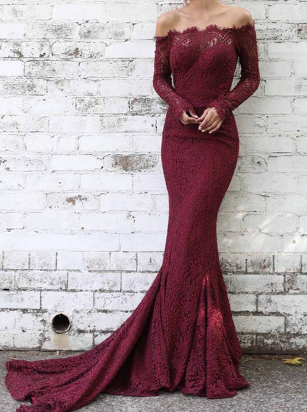 Burgundy Lace Off The Shoulder Prom Dresses With Long Sleeves Mermaid Evening Dresses