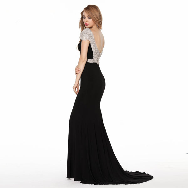 Long Black Backless Sequins Prom Dresses Elegant Evening Dresses For Women