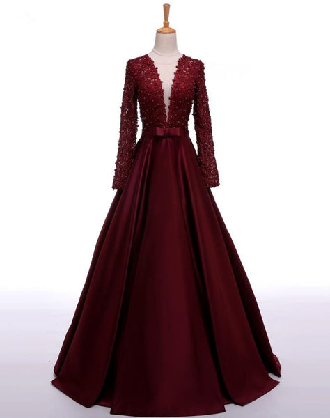 Burgundy Deep V Neck Beaded Prom Dresses Satin Evening Dresses