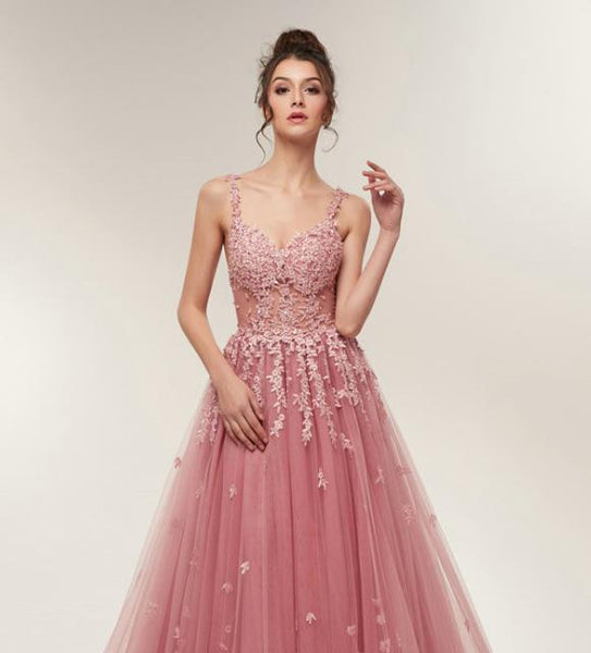 Blush Backless Tulle Prom Dresses Evening Dresses With Appliques
