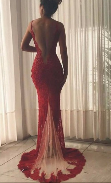 A Low Back Lace Evening Dresses,Burgundy V Neck Slit Prom Dresses
