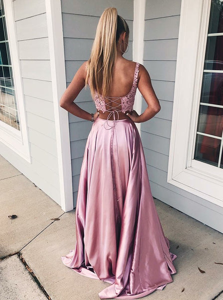 Lace Two Piece Satin Prom Dresses,Slit Evening Dresses With Pocket
