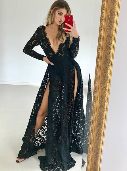 Black Lace Evening Dresses With Long Sleeves,Slits Prom Dresses
