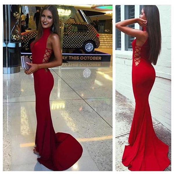 Red High Neck Prom Dresses,Tight Evening Dresses for Women