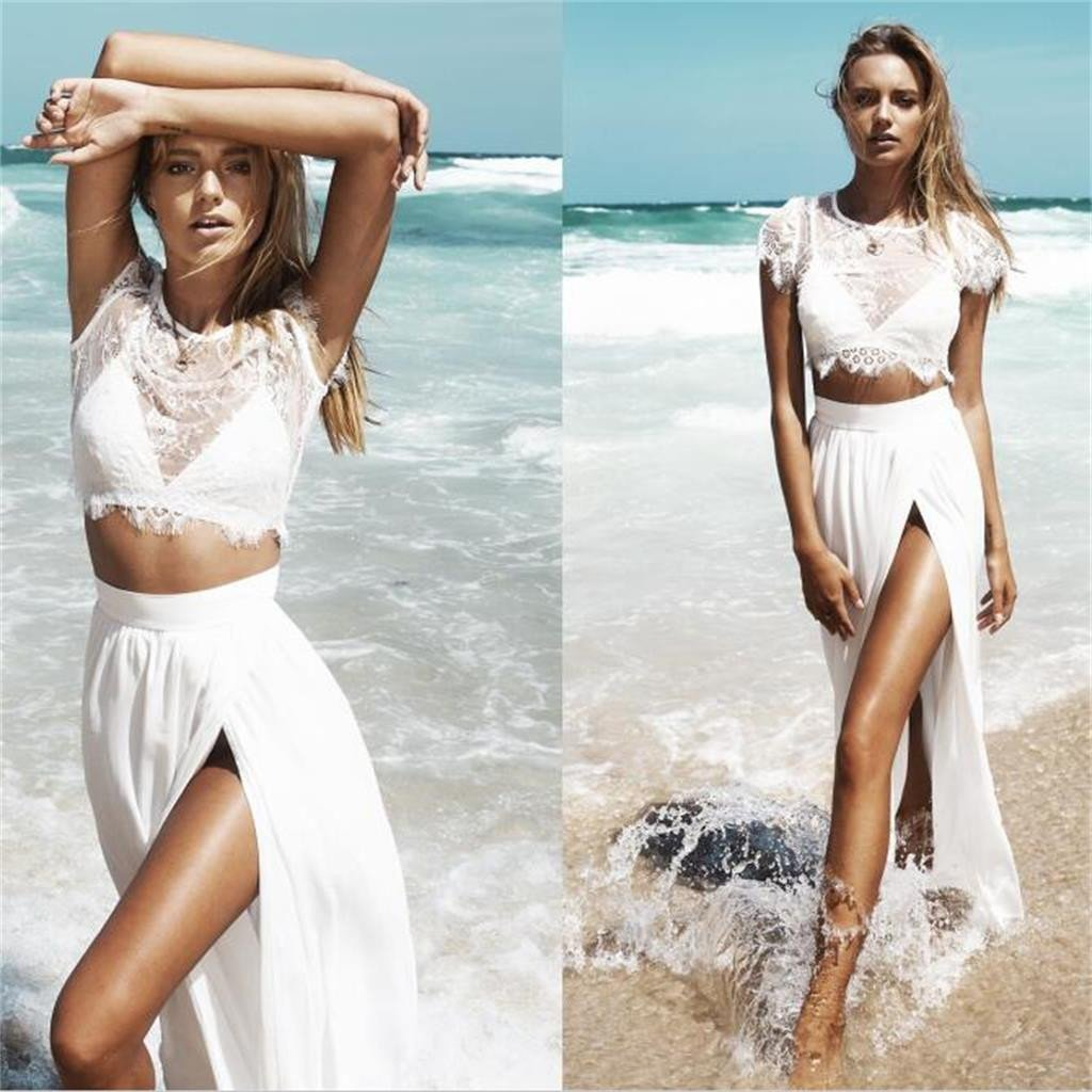 White Lace Two Pieces Prom Dresses,Slit Cap Sleeves Evening Dresses