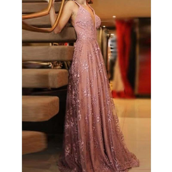 Blush Backless Glitter Prom Dresses,V Neck Lace Evening Dresses With Appliques