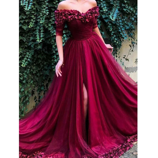Burgundy Slit Off The Shoulder Prom Dresses,Long Evening Dress With Appliques