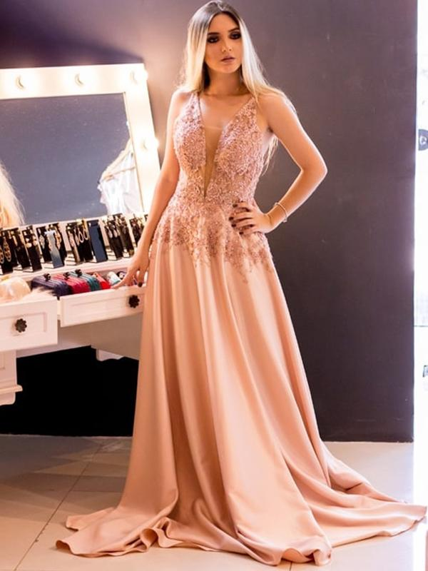 Champagne V Neck Prom Dresses,Lace Satin Beaded Evening Dresses