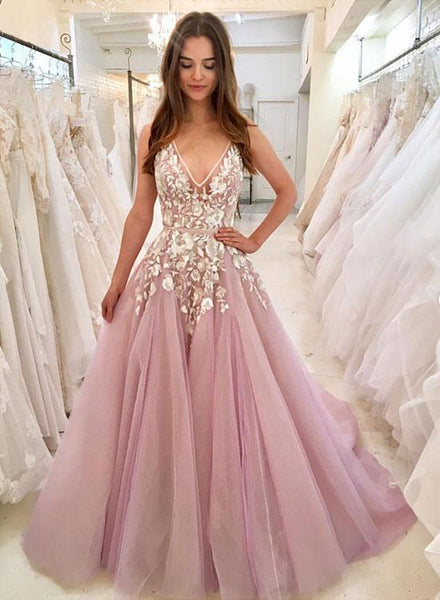 Pink Tulle Long Prom Dresses,Appliques Evening Dresses