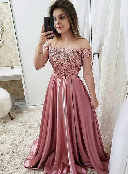 Blush Beaded Lace Prom Dresses,Long Off The Shoulder Evening Dresses