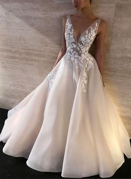 White V Neck Prom Dresses,Appliques Evening Dresses