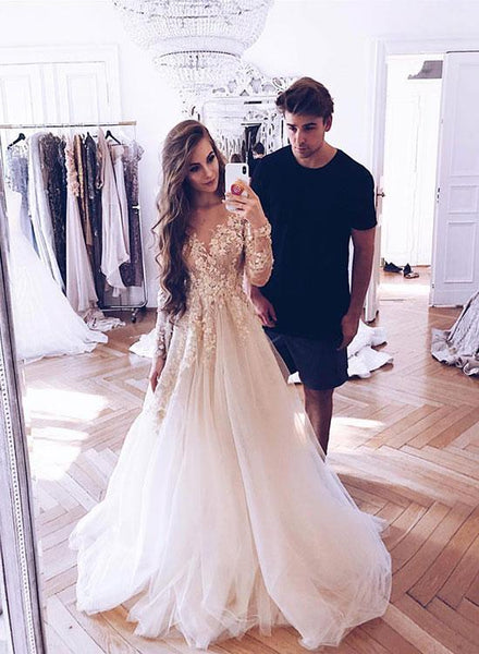 White Appliques Tulle Evening Dresses,Prom Dresses Long Sleeves