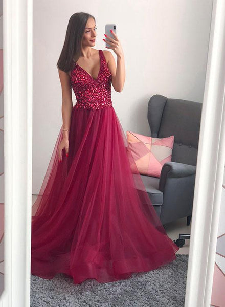 Burgundy Glitter Prom Dresses,Tulle V Neck Evening Dresses
