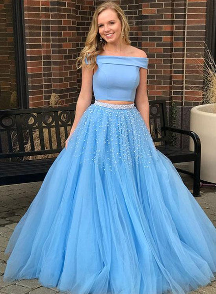 Two Piece Sky Blue Prom Dresses,Beaded Tulle Evening Dresses