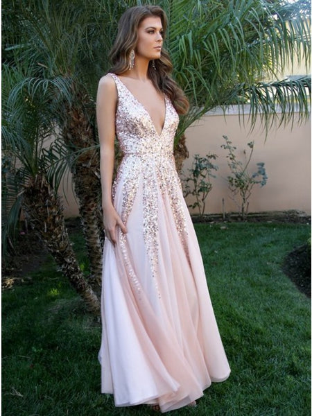 Pink Deep V Neck Prom Dresses,Tulle Long Evening Dresses
