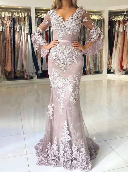 Tulle Half Sleeves Evening Dresses,Appliques Prom Dresses