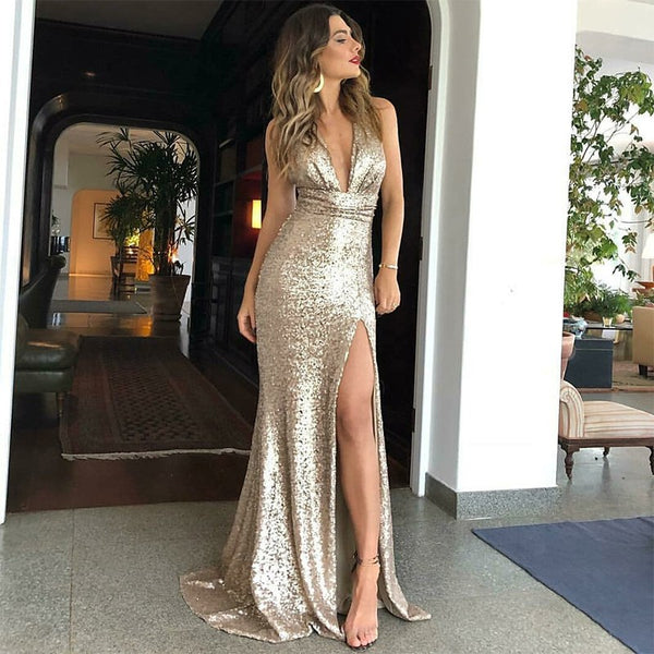 Golden Glitter Prom Dresses,Slit Long Evening Dresses
