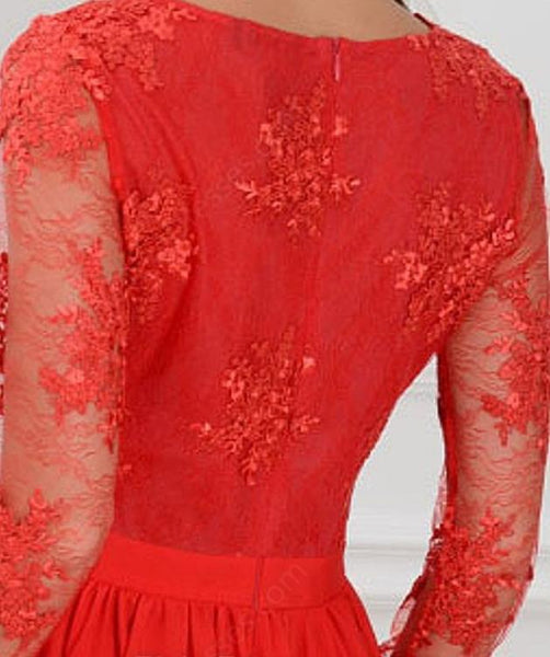 Lace Long Sleeves Prom Dresses,Slit V Neck Appliques Evening Dresses