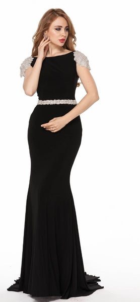 Sheath Prom Dresses,Black Prom Dress,Long Evening Dress