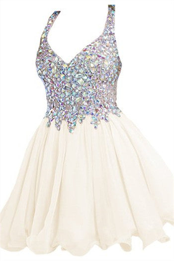 White Straps Crystal Homecoming Dresses,Mini Sweer Homecoming Dress