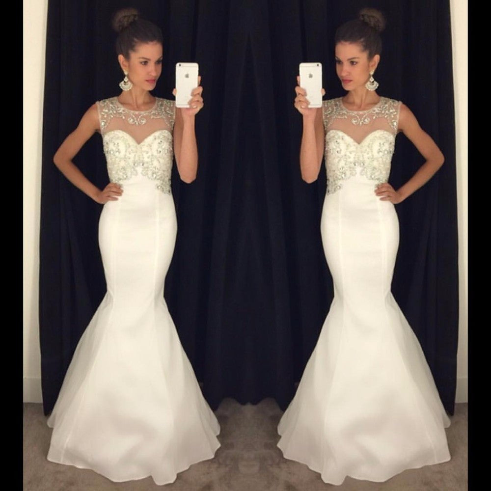 Sleeveless Mermaid Prom Dresses,White Prom Dress,Long Evening Dresses