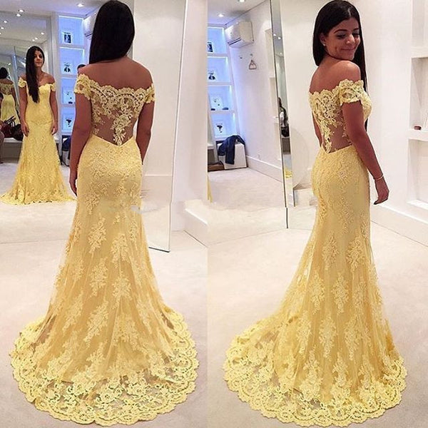 Off Shoulder Prom Dress,Yellow Prom Dresses,Long Evening Dresses