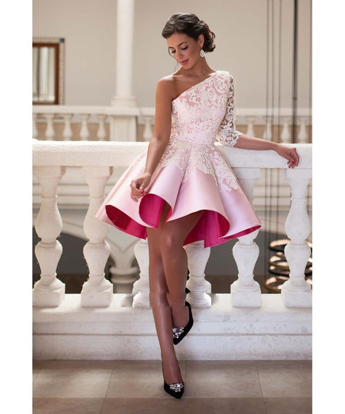 One Shoulder Prom Dress,Pink Prom Dress,Short Evening Dresses