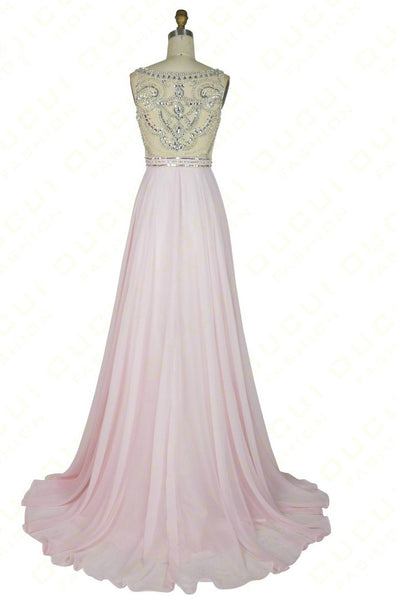 See Through Back Prom Dresses,Pink Prom Dresses,Long Evening Dress