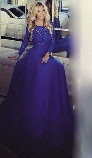 See Through Prom Dresses,Royal Blue Prom Dress,Long Evening Dress