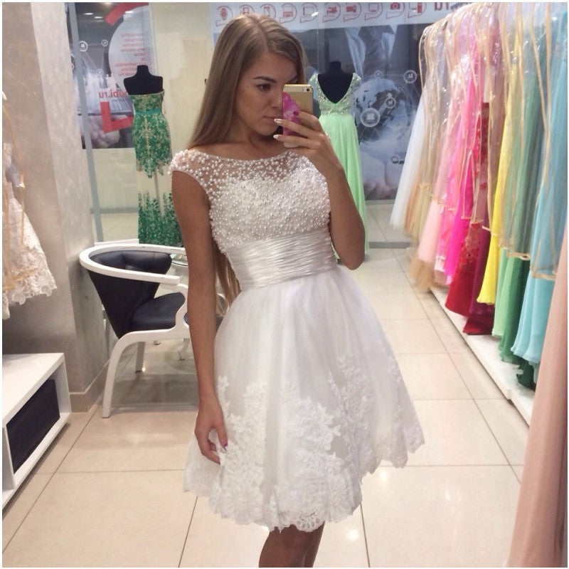 Short White Beading Sleeveless Prom Dresses,Prom Dress