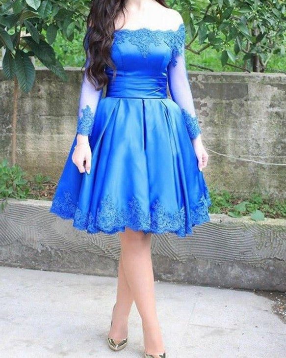 Royal Blue Homecoming Dress, Elegant Lace Appliques Long Sleeve Off-the-shoulder Short Prom Dress