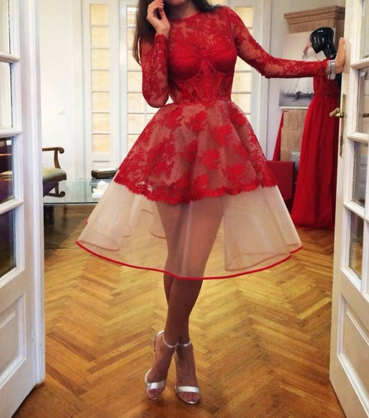 Charming Red Homecoming Dresses, Sheer Lace Appliques Long-Sleeve Homecoming Dresses