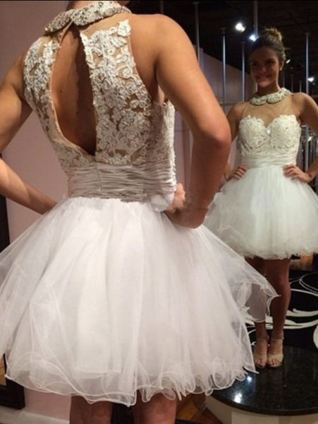 White Homecoming Dress, High Neck Tulle Applique Homecoming Dresses