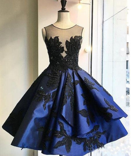 Elegant Homecoming Dress, Royal Blue Applique Sleeveless Homecoming Dress