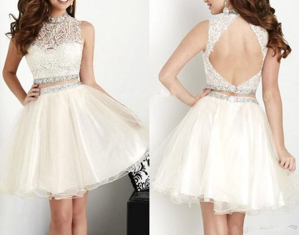 Ivry Homecoming Dress, Cute Lace Two-Piece Homecoming Dress with Beadings