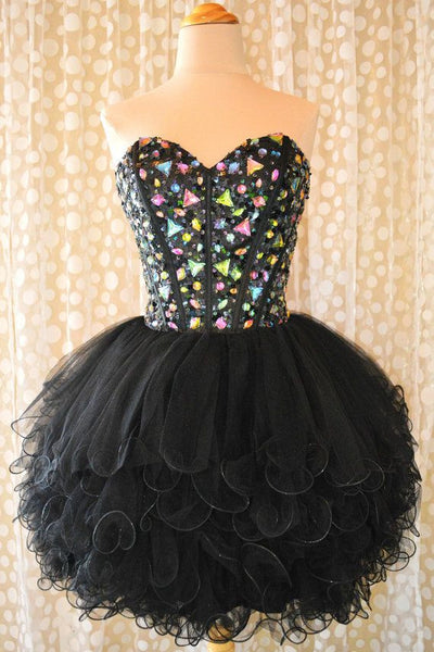 Homecoming Dress,Black Crystal Beadins Chiffom Strapless Short Prom Dress