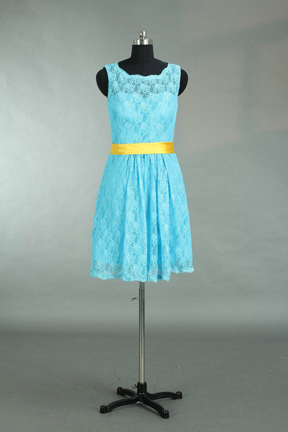 Homecoming Dress,Belt Sky Blue Lace Straps Short Prom Dress