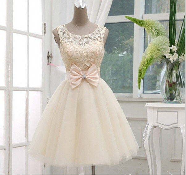 Homecoming Dress,Straps White Lace Bowknot Chiffon Short Prom Dress